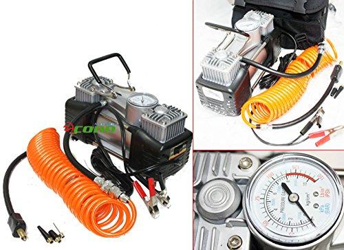 12V Twin Cycliner Mini Metal Air pump Compressor Tire Inflator Kit 12 Volt
