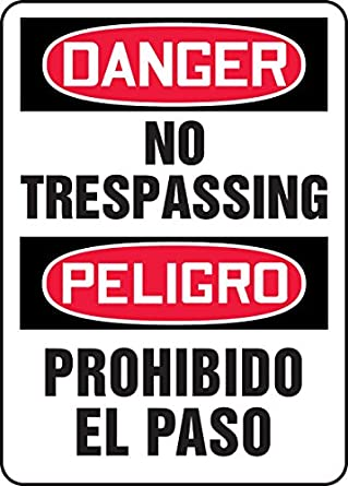 Accuform signs sbmadm076vp plastic spanish bilingual - Prohibido el paso ...