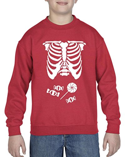 [Xekia Kids Hallowen Costume Skeleton with Candies Halloween Fashion Children Gifts Crewneck For Girls - Boys Youth Kids Medium] (Hallowen Contact Lenses)