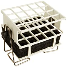 "Barnstead White Half-Size Test Tube Rack Clamp, 17mm to 20mm, 4"" x 5"" Array"