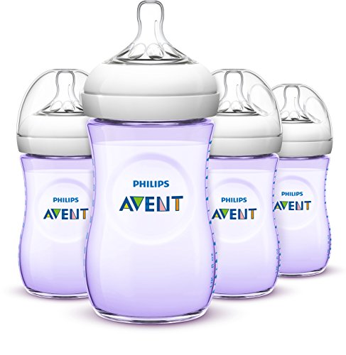buy Philips AVENT Natural Bottle, Purple, 9 Ounce, 4 Count for sale