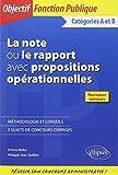 La Note ou le Rapport avec Propositions Opérationnelles Catégories A et B Nouveaux Concours