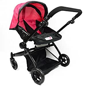 Amazon.com: Pink Twin Doll Deluxe Babyboo Stroller with ...