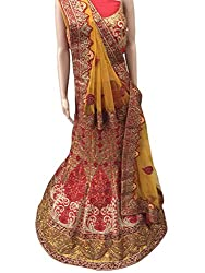 Suchi Fashion Red & Yellow Embroidered Silk Semistitched Party Wear Lehenga Choli