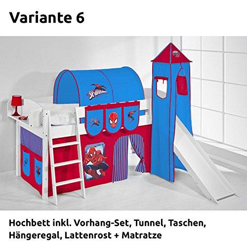Hochbett Spielbett IDA Spiderman, mit Turm, Rutsche und Vorhang, weiß, Variante 6 jetzt bestellen