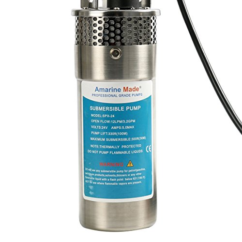 Amarine-made 24V Stainless Shell Submersible 3.2GPM 4″ Deep Well Water DC Pump / Alternative Energy Solar Battery