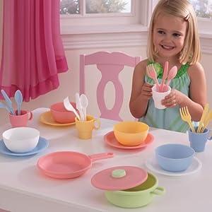 KidKraft Kids Children Home Indoor Pretend Play Toy 27 Piece Fun Cookware set Pastel