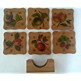 MASOOM WOODEN DECORATIVE TEA COASTER SET OF 6 WITH STAND FRUIT DESIGN