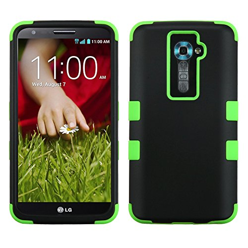 Phonetatoos For Ls980 (G2), Vs980 (G2), D800 (G2), D801 (Optimus G2) Rubberized Black/Electric Green Tuff Hybrid Phone Protector Cover