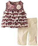 Kenneth Cole Baby-girls Infant Top And Capri Pant, Brown, 18 Months