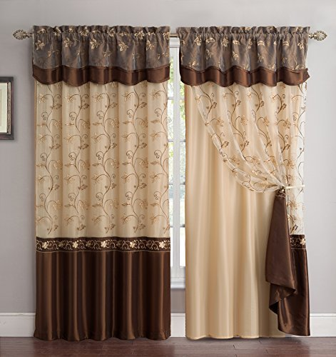Fancy Collection Embroidery Curtain Set 2 Panel Drapes With Backing Valance Coffee Brown