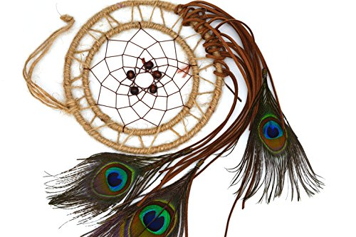 Ricdecor Dream catcher Indian Peacock feathers Tassels dream catcher wall hanging car hanging decoration ornament Dia 5.9