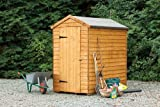 6' x 4' Wooden Windowless Security Garden Shed Single Door Apex Roof Overlap Wood 10 Year Anti-Rot Guarantee