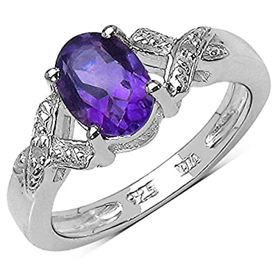 The Amethyst Ring Collection: Sterling Silver 1.00CT Amethyst Engagement Ring with Diamond Shoulders