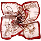 Kobwa(TM) Women Flower Mulberry Silk Square Scarves Bandana Scarf with Kobwa's Keyring