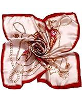 Kobwa(TM) Women Flower Mulberry Silk Square Scarves Bandana Scarf with Keyring