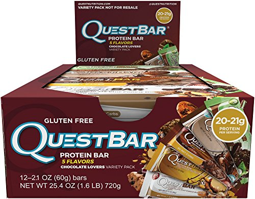 Quest Nutrition Protein Bar, Chocolate Lovers Variety Pack, 5 Flavors, 20-21g Protein, 2.12oz Bar, 12 Count (Quest Nutrition Chocolate Brownie compare prices)