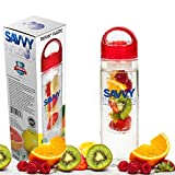 Savvy Infusion Premium Fruit Infuser Water Bottle - 24 Ounce Infused Travel Tumbler - Best Infusing Cup To Create Your Own Naturally Flavored Water, Tea & Sparkling Drinks