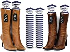 My Boot Trees - Boot Shaper Stands - 100% Cotton - Hand Made - for Women & Men - Complementary Tie-On Wood Tags Included For Customization - LIFETIME GUARANTEE - Several Patterns To Choose From - One Pair (Blue & White Stripes).
