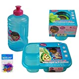 4 Item Bundle: Disney Doc McStuffins Lunch Set - Doc McStuffins Water Bottle (16 oz), 4-pack Doc McStuffins Snack Containers, 3-partition Doc McStuffins Lunch Tray, and 12-pack Silicone Bracelets - All Are BPA FREE and Non-toxic (Jug+Snack Container+Lunch Tray)