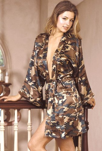 Camouflage Print 100% Silk Charmeuse Kimono / Robe