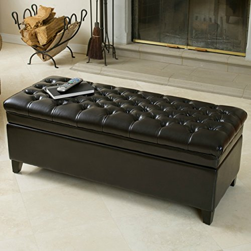 Modern Faux Leather Rectangle Storage Ottoman Solid Wood Construction Eco - Friendly (Black)