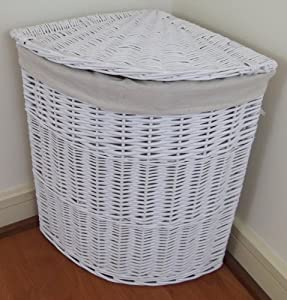 Medium Size White Painted Wicker Corner Linen Laundry