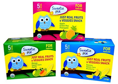 Sweetie Pie Organics Fruits & Veggies Snack for Toddler & Baby, Variety, (Pack of 6)