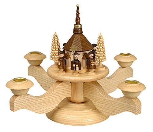 Adventsleuchter mit Seiffener Kirche inkl. 4 Teelichtaufsätze – Original Erzgebirge® #0510