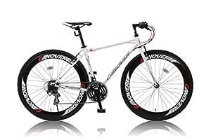 CANOVER(カノーバー) 700×28C クロスバイク シマノ21段変速グリップシフト 前後ディープリム 前後Vブレーキ LEDライト標準装備 CAC-025 NYMPH(ニンフ) ホワイト