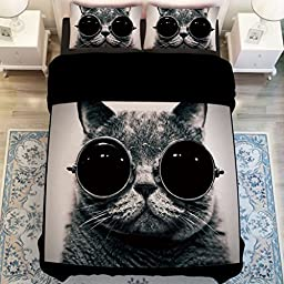 YOYOMALL Home Textiles Super Cool Black Cat With Glasses Duvet Cover Set,Cotton Bedding Sets Twin Full Queen Size (Twin, Fitted sheet style)