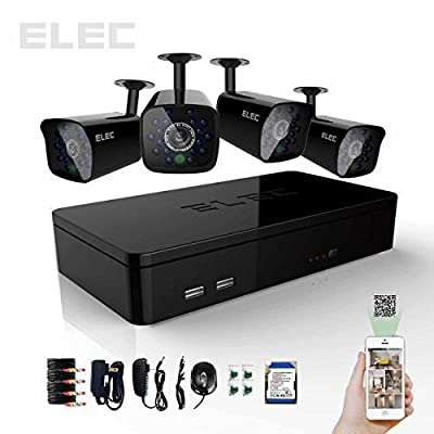 ELEC 4 Channel HDMI CCTV H.264 DVR 500GB HDD 4 CMOS 700TVL Night Vision IR Cameras Indoor / Outdoor Security Camera Kit ?Mobile e-cloud viewing?Multi-channel Playback, Email Alert?Motion Detection