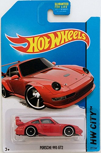 Hot wheels red Porsche 993 GT2 die-cast collectible from 2014 city release - 1