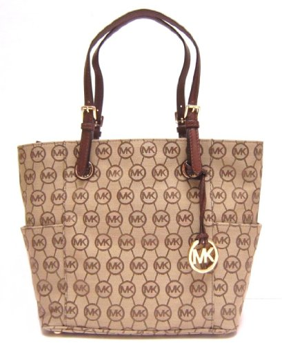 Michael Kors Jet Set Tote in Beige / Ebony / Mocha (Brown) (MK Handbags, Bags, Totes)