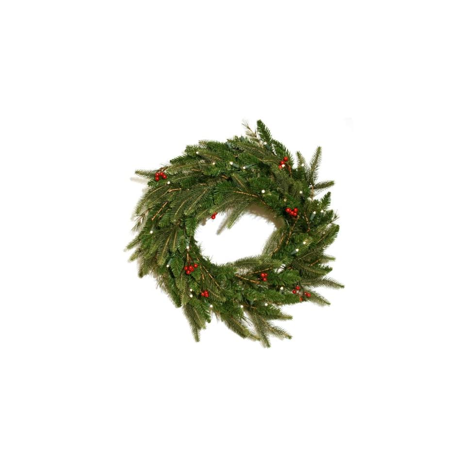 Good Tidings 4750047 Brewer Spruce Artificial Prelit Christmas Wreath 24 Inches in Diameter with 50 Clear Lights