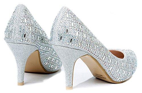 Bella Luna Myra Sparkle Crystal Gem Rhinestone Glitter Mesh Formal Evening Dress Pumps,Silver,9