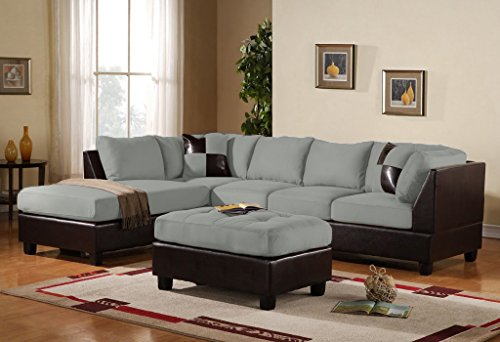 Case Andrea Milano 3-Piece Microfiber Faux Leather Sectional Sofa with Ottoman, Grey