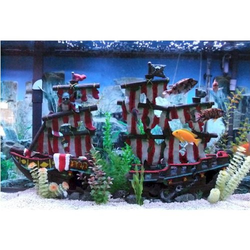 Penn plax large striped sail shipwreck fish tank ornament for Fish tank pirate ship