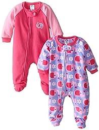 Gerber Baby-Girls Newborn 2 Pack Blanket Sleepers, Elephant, 24 Months