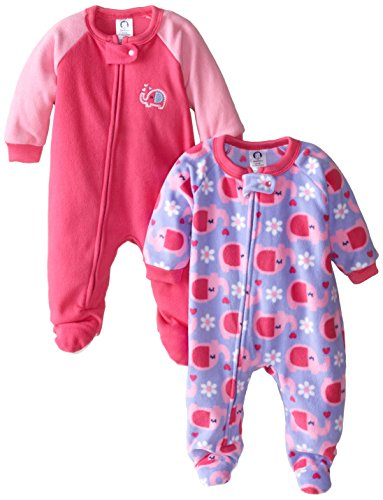 Gerber Baby-Girls Newborn 2 Pack Blanket Sleepers, Elephant, 0-6 Months