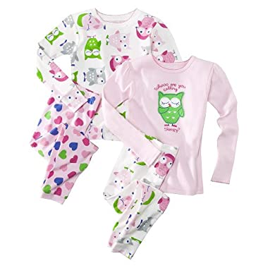 Product Image JUST ONE YOU™ Made by Carter's® Infant Toddler Girls' 4-Piece Owls Cotton Pajama Set - Pink/White
