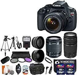 Canon EOS Rebel T5 18.0 MP CMOS Digital Camera SLR Kit With Canon EF-S 18-55mm IS II + Canon 75-300mm III Lens + Wide-Angle Lens + Telephoto Lens + 8GB and 16GB Card + Card Reader + Case + Flash + Tripod + Remote + 58mm Filter Kit - 24GB Deluxe Accessorie