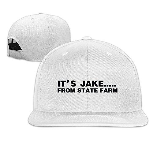 hittings-its-jake-from-state-farm-adjustable-hats-flat-brim-baseball-caps-white