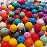 100pc 12mm Silicone Beads for Making Necklaces, Teethers, Bracelets and Chew Bead Jewelry, Includes Nylon Rope and Clasp, Perfect for Nursing, Sensory & Crafting (Tamaño: 100 Pieces)