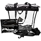 Deluxe Clear Tote Bag (Pink or Black) w Zipper Closure, Removable Shoulder Strap (Padded), Carry Handles, Detachable Privacy Purse and Reinforced Bottom. NFL Stadium Approved. For Men and Women.