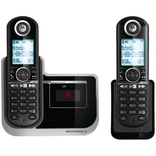 Motorola L802 DECT 6 Enhanced Cordless Phone with 2 Handsets and Digital Answering System