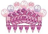 Unique Party 83107-Glitz rosa Cumpleaños Suministros para fiestas Kit para 8