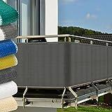 Balkon-Sichtschutz-500x90-cm-Anthrazit-Grau-witterungsbestndige-Balkonumspannung-mit-Befestigung-Windschutz