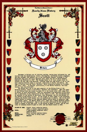 Scott Coat Of Arms/Crest And Family Name History, Meaning & Origin Plus Genealogy/Family Tree Research Aid To Help Find Clues To Ancestry, Roots, Namesakes And Ancestors Plus Many Other Surnames At The Historical Research Center Store front-855093