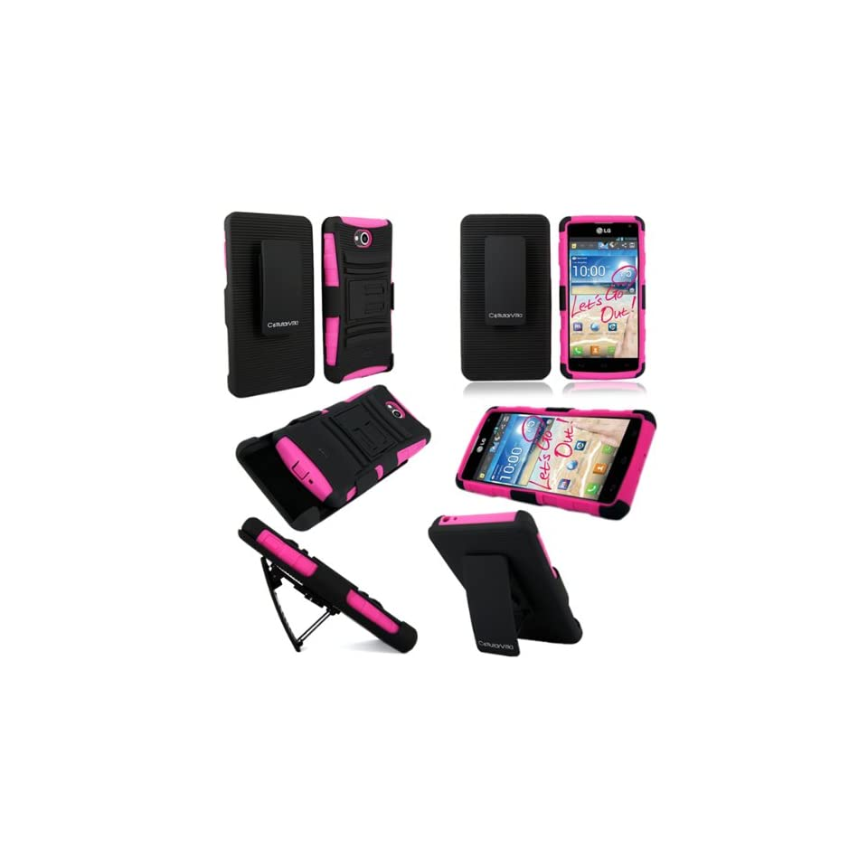 For LG Spirit 4G MS870 CellularvillaTM 3pc Hard and Soft Pink Black Kickstand Case with Holster Clip.